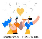 group of friends making party... | Shutterstock .eps vector #1223042188