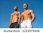 men sexy muscular bare torso... | Shutterstock . vector #1223073448