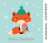 cute christmas greeting card... | Shutterstock .eps vector #1223078425