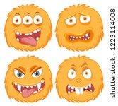 set of yellow monster facial... | Shutterstock .eps vector #1223114008