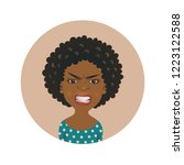 afro american angry woman face... | Shutterstock .eps vector #1223122588