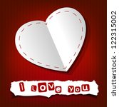 valentine s day card. paper... | Shutterstock .eps vector #122315002