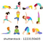 yoga kids vector young child... | Shutterstock .eps vector #1223150605