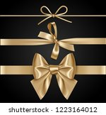 set of decorative golden bows... | Shutterstock .eps vector #1223164012