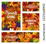 friendsgiving potluck dinner... | Shutterstock .eps vector #1223168902