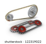 Sprocket with metal link chain - stock photo