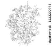 vector drawing bouquet of... | Shutterstock .eps vector #1223200795