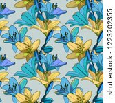 lilies on vintage seamless... | Shutterstock .eps vector #1223202355