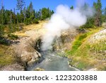 view of sulfur fumes coming out ...   Shutterstock . vector #1223203888
