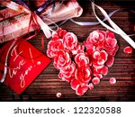 Vintage Heart From Flowers On...