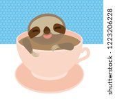 sloth in a pink cup coffee  tea ... | Shutterstock . vector #1223206228