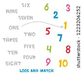 look and match the numbers 1 to ... | Shutterstock . vector #1223206252
