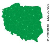 map of poland from polygonal... | Shutterstock .eps vector #1223207008