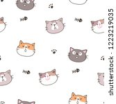seamless pattern with cartoon... | Shutterstock .eps vector #1223219035