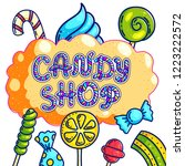 candy shop hand drawn vector...   Shutterstock .eps vector #1223222572