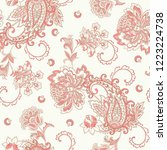 seamless pattern with paisley... | Shutterstock .eps vector #1223224738