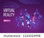 virtual augmented reality... | Shutterstock .eps vector #1223224948