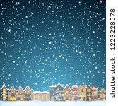 christmas house in snowfall at... | Shutterstock .eps vector #1223228578