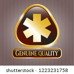 golden emblem or badge with... | Shutterstock .eps vector #1223231758