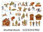 christmas winter people scenes... | Shutterstock .eps vector #1223241982