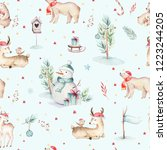 seamless watercolor merry... | Shutterstock . vector #1223244205