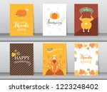 set of happy thanksgiving day... | Shutterstock .eps vector #1223248402