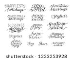 collection with 16 holiday hand ... | Shutterstock .eps vector #1223253928