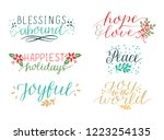 collection with 6 holiday cards ... | Shutterstock .eps vector #1223254135