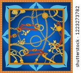 silk scarf with golden chains ... | Shutterstock .eps vector #1223273782