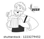 vector aged man holds a big... | Shutterstock .eps vector #1223279452