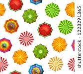 vector summer beach umbrellas... | Shutterstock .eps vector #1223291365