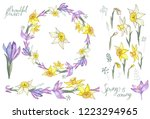 round frame with pretty yellow... | Shutterstock .eps vector #1223294965