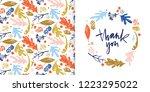 autumn foliage seamless pattern ... | Shutterstock .eps vector #1223295022