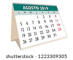 2019 august month in a desk... | Shutterstock .eps vector #1223309305