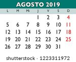 august month in a year 2019... | Shutterstock .eps vector #1223311972