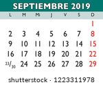 september month in a year 2019... | Shutterstock .eps vector #1223311978