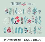 christmas floral set   hand... | Shutterstock .eps vector #1223318608