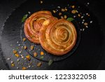 sweet soft buns. puff pastry...   Shutterstock . vector #1223322058