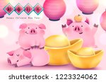 chinese new year with chubby... | Shutterstock .eps vector #1223324062