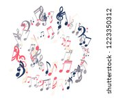 wreath of musical symbols.... | Shutterstock .eps vector #1223350312