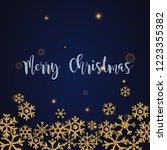 merry christmas. golden glitter ... | Shutterstock .eps vector #1223355382
