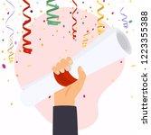 hand holding diploma graduation.... | Shutterstock .eps vector #1223355388