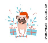 happy pet dog pug with... | Shutterstock .eps vector #1223362435