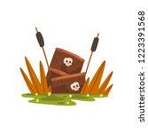 rusty leaking barrels of toxic... | Shutterstock .eps vector #1223391568