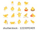 set of funny yellow chicken in... | Shutterstock .eps vector #1223392405