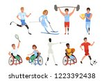 set of paralympics athletes... | Shutterstock .eps vector #1223392438