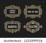 beautiful set vintage ornament... | Shutterstock .eps vector #1223399518