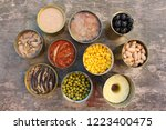 different open canned food on... | Shutterstock . vector #1223400475