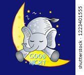 cute elephant and good night... | Shutterstock .eps vector #1223401555