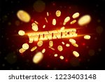 the gold word winner ... | Shutterstock .eps vector #1223403148